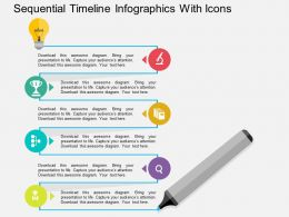 bt Sequential Timeline Infographics With Icons Flat Powerpoint Design