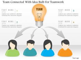 Bt Team Connected With Idea Bulb For Teamork Powerpoint Template