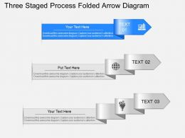 bt Three Staged Process Folded Arrow Diagram Powerpoint Template