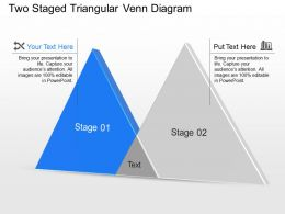 Bt Two Staged Triangular Venn Diagram Powerpoint Template