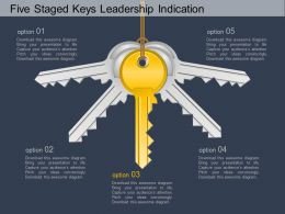 bu Five Staged Keys Leadership Indication Flat Powerpoint Design