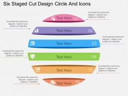 bu Six Staged Cut Design Circle And Icons Flat Powerpoint Design