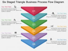 bu Six Staged Triangle Business Process Flow Diagram Flat Powerpoint Design
