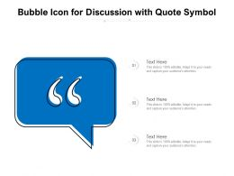Bubble Icon For Discussion With Quote Symbol