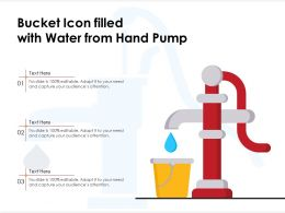 Bucket Icon Filled With Water From Hand Pump