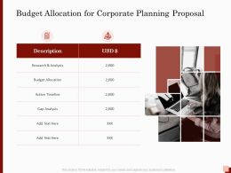 Budget Allocation For Corporate Planning Proposal Ppt Powerpoint Gallery