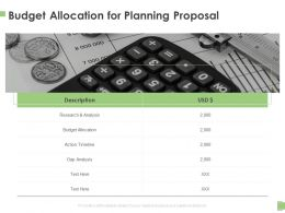 Budget Allocation For Planning Proposal Ppt Powerpoint Presentation Model Clipart Images