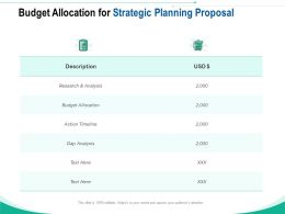 Budget Allocation For Strategic Planning Proposal Ppt Powerpoint Presentation Slides