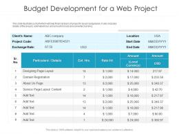 Budget Development For A Web Project