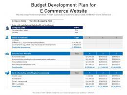 Budget Development Plan For E Commerce Website