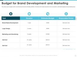 Budget For Brand Development And Marketing Building Effective Brand Strategy Attract Customers