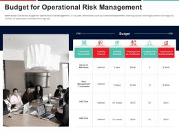 Budget For Operational Risk Management Approach To Mitigate Operational Risk Ppt Infographics