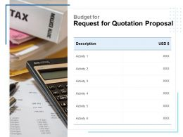 Budget For Request For Quotation Proposal Ppt Layouts Example Topics