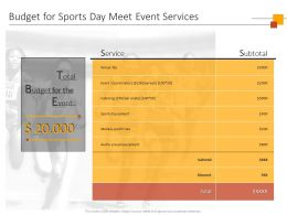 Budget For Sports Day Meet Event Services Ppt Powerpoint Presentation Templates