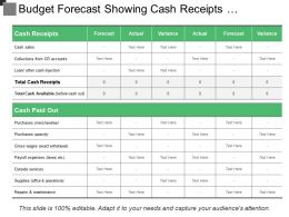 Budget Forecast Showing Cash Receipts And Cash Paid Out