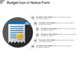 Budget Icon In Notice Form