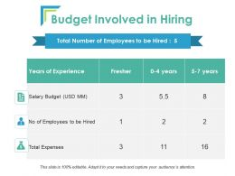 Budget Involved In Hiring Ppt Powerpoint Presentation Layouts Background Image