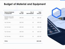 Budget Of Material And Equipment Ppt Powerpoint Presentation Outline Tips