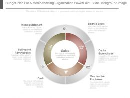 Budget Plan For A Merchandising Organization Powerpoint Slide Background Image