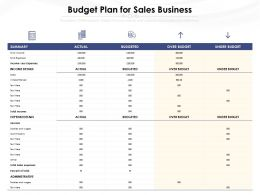 Budget Plan For Sales Business