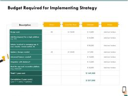 Budget Required For Implementing Strategy Estimate Ppt Infographics