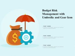 Budget Risk Management With Umbrella And Gear Icon