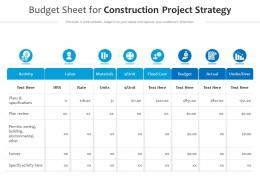 Budget Sheet For Construction Project Strategy