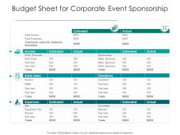 Budget Sheet For Corporate Event Sponsorship