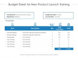 Budget Sheet For New Product Launch Training