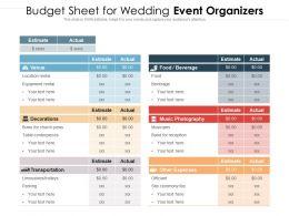 Budget Sheet For Wedding Event Organizers