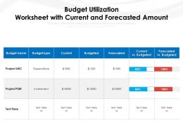 Budget Utilization Worksheet With Current And Forecasted Amount