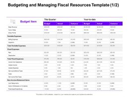 Budgeting And Managing Fiscal Resources Actual Ppt Powerpoint Presentation Infographic