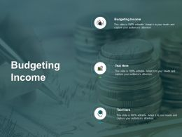 Budgeting Income Ppt Powerpoint Presentation Ideas Clipart Images Cpb