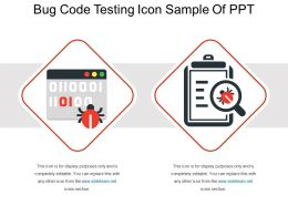 Bug Code Testing Icon Sample Of Ppt