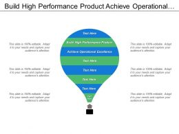 Build High Performance Product Achieve Operational Excellence Improve Cost Efficiency