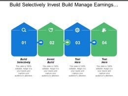 Build Selectively Invest Build Manage Earnings Limited Expansion