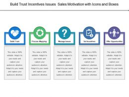 Build Trust Incentives Issues Sales Motivation With Icons And Boxes