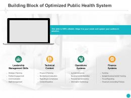 Building Block Of Optimized Public Health System Finance Ppt Powerpoint Presentation