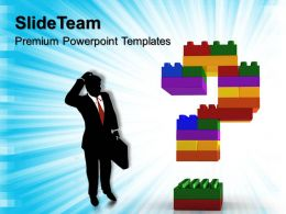 Building Blocks Math Powerpoint Templates Confused Man With Question Business Ppt Slides