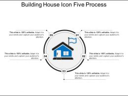 Building House Icon Five Process PowerPoint Slide Template