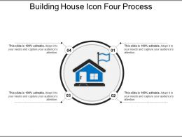 Building House Icon Four Process Ppt Examples Slides