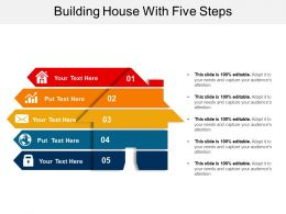 Building House With Five Steps Ppt Background Template