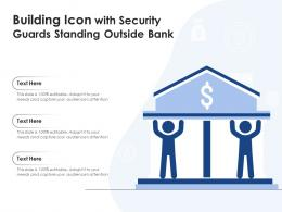 Building Icon With Security Guards Standing Outside Bank
