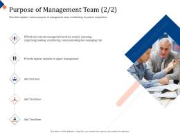 Building Management Team Purpose Of Management Team Planning Ppt Powerpoint Objects