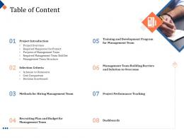 Building Management Team Table Of Content Program Ppt Powerpoint Presentation Image