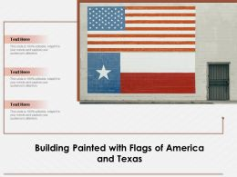 Building Painted With Flags Of America And Texas