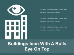 Buildings Icon With A Bulls Eye On Top