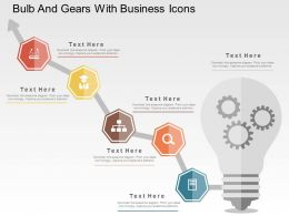 Bulb And Gears With Business Icons Flat Powerpoint Design