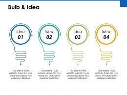 Bulb And Idea Technology Ppt Powerpoint Presentation File Objects