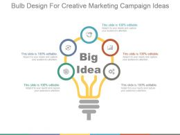 Bulb Design For Creative Marketing Campaign Ideas Ppt Slides